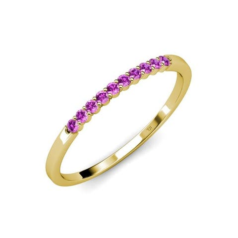 TriJewels Amethyst 1/6 ctw 10 Stone Wedding Band Stackable 14K Gold
