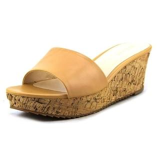 Nine West Confetty Open Toe Leather Wedge Heel