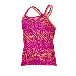 Nike Girls Swimwear One Piece Tankini Top Crossback Energy Purple/Coral 10