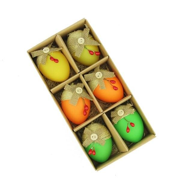 Shop Set Of 6 Bright Green Orange And Yellow Jute Burlap Spring