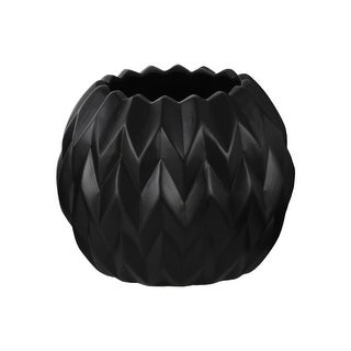Urban Trends Ceramic Round Low Vase with Uneven Lip and Embossed Wave Design Matte Finish Black