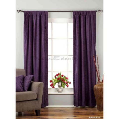 "Purple Tab Top Velvet Curtain / Drape / Panel - 84"" - Piece - 43 X 84 Inches (109 X 213 Cms)"