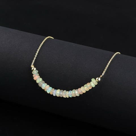 Evaluesell Handmade Sterling Silver Ethiopian Opal Beaded Necklace - 6 to 8 carats