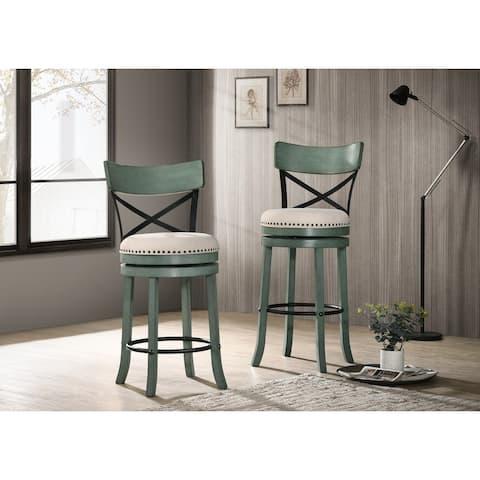 Furniture of America Heidi Modern Farmhouse Swivel Barstools Set of 2