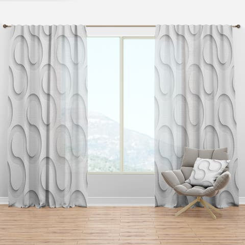 Designart 'Wave Pattern' Scandinavian Curtain Panel