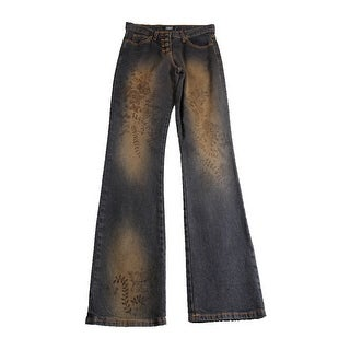 Laundry By Shelli Segal Blue Button-Fly Straight-Leg Printed Jeans - 2