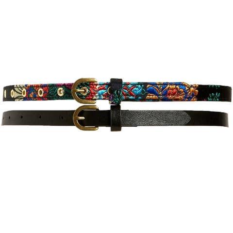 INC International Concepts Women's Embroidered and Solid 2 for 1 Belts Black/Multi Size Medium - Black
