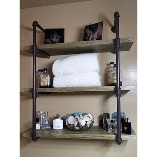shop danya b three tier faux wood industrial pipe wall shelf free rh overstock com 3 tier wall shelf unit 3 tier wall shelf for candles