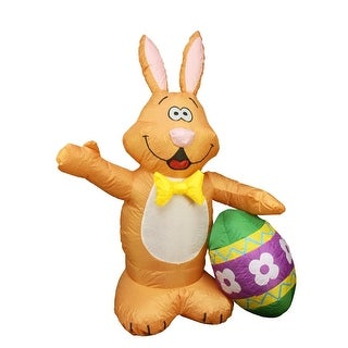4' Inflatable Lighted Bunny with Easter Egg Outdoor Decoration