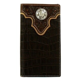 Nocona Western Wallet Men Rodeo Faux Crocodile Black Brown N5499402