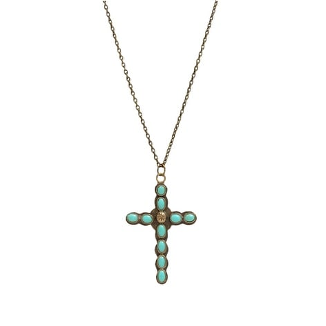"""LoulaBelle Jewelry Womens Necklace Cross Stone 28"""" Gold Turq LN7111TQ - gold turquoise"""