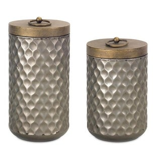 Pack of 2 Geometric Unique Decorative Metal Canisters