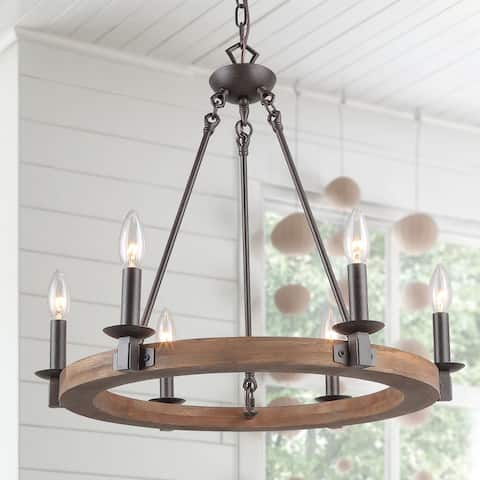LNC Transitional 6-Light Wagon Wheel Bronze Metal Wood Chandelier Dining Room