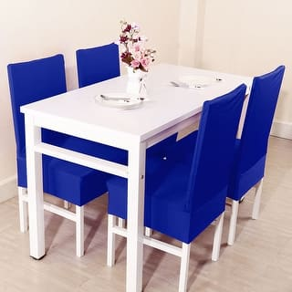 Unique Bargains Blue Spandex Stretch Washable Dining Chair Cover