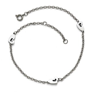 Chisel Stainless Steel Polished Hearts extension Anklet (1 mm) - 9 in