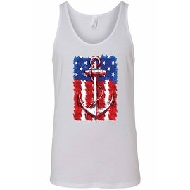 Men's USA Flag Tank Top Anchor Navy Stars & Stripes Sailor American Pride Beach