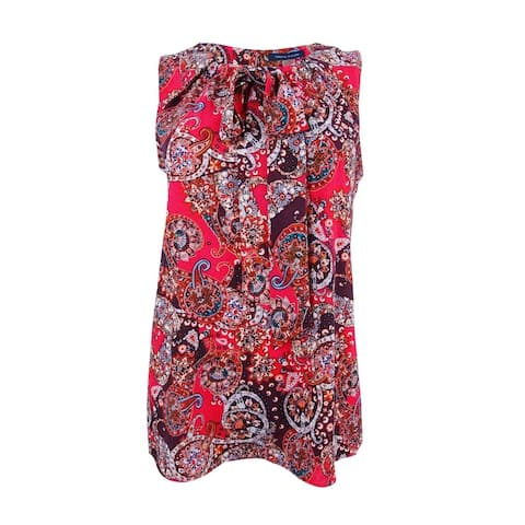 Tommy Hilfiger Women's Paisley-Print Tie-Neck Shell Top - Red Multi