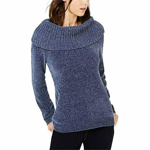 INC International Concepts Women's Chenille Cowl-Neck Sweater Navy Size Large