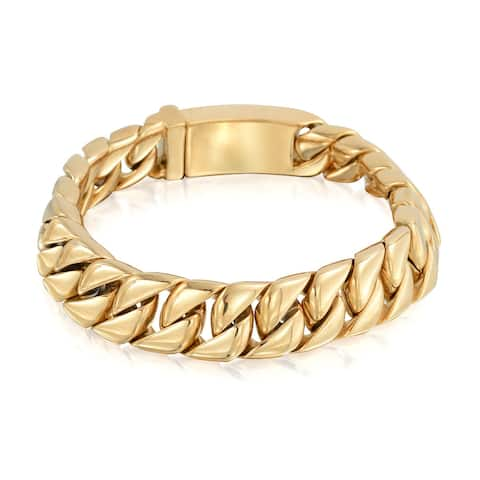 Large Heavy Solid Cuban Curb Chain Bracelet For Men Polished Gold Plated Stainless Steel 12MM