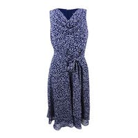 Jessica Howard Women's Printed Sash A-Line Dress - Navy/Ivory