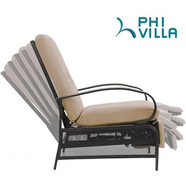 Phi Villa Outdoor Patio Metal Adjustable Relaxing Recliner Lounge Chair With Cushion N A On Sale Overstock 30355005