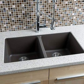 "Miseno MGR33185050 33"" Undermount Double Bowl Granite Composite Kitchen Sink wit"