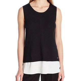 Calvin Klein NEW Black White Chiffon-Hem Large L Knit Tunic Tank Top