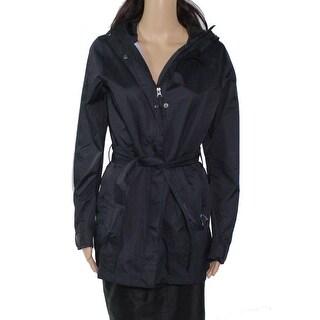 Columbia Women's Jacket Black Size Small S Full Zip Hooded Tie Waist