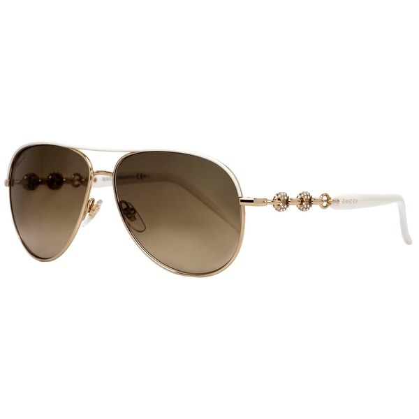 Gucci GG 4239/N/S 0JK/ED Gold/White w/ Crystals Women's Aviator Sunglasses - 58mm-13mm-130mm
