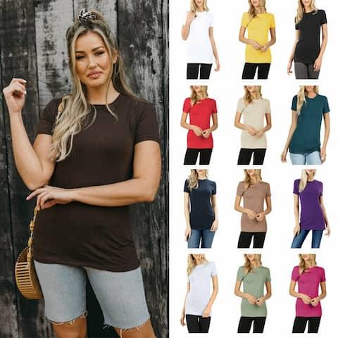 NioBe Clothing Womens Basic Solid Cotton Crew Neck Shirt