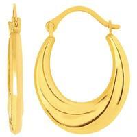 Mcs Jewelry Inc 14 KARAT YELLOW GOLD HORSESHOE SWIRL HOOP EARRINGS (15MM)