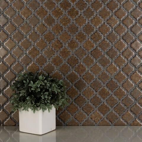 "SomerTile Hudson Tangier Brownstone 12.38"" x 12.5"" Porcelain Mosaic Tile"