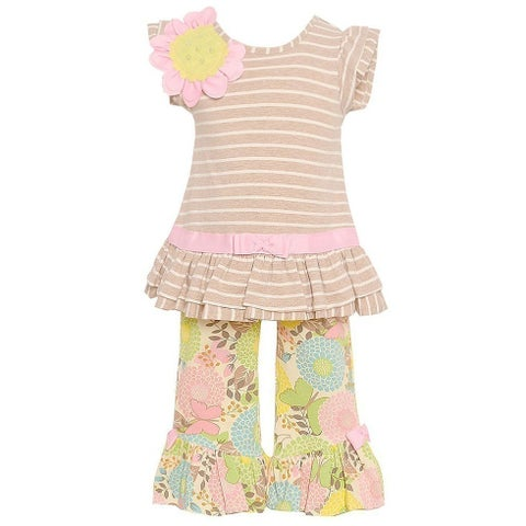 Rare Editions Little Girls Taupe Stripe Floral Print 2 Pc Pant Outfit