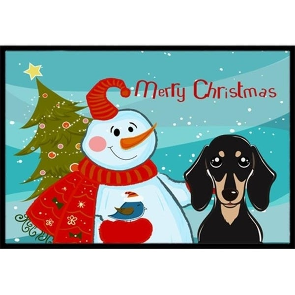 Carolines Treasures BB1835MAT Snowman With Smooth Black And Tan Dachshund Indoor & Outdoor Mat 18 x 27 in.