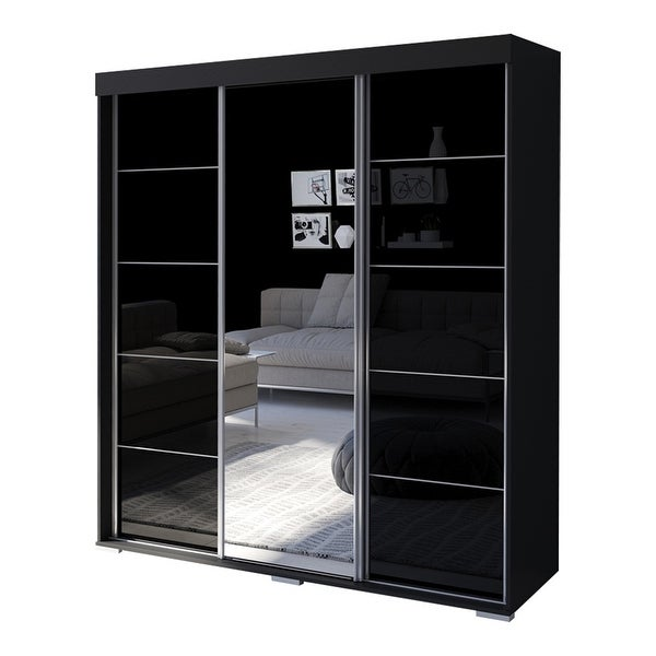 Aria Modern 3-door Wardrobe Armoire with Mirror. Opens flyout.