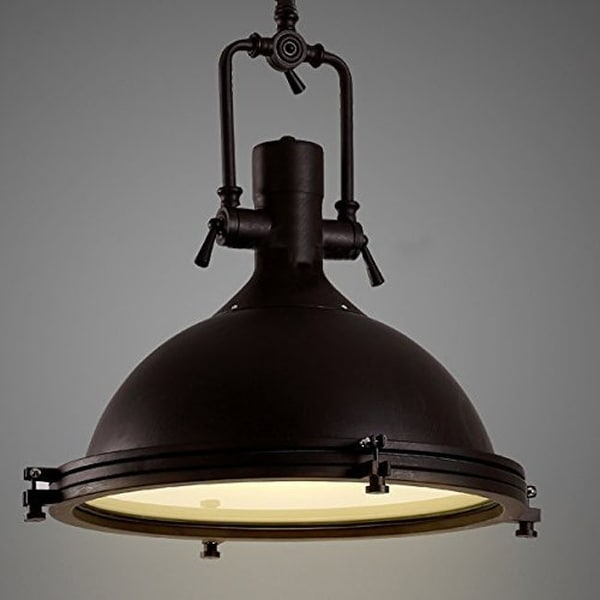 Vintage Barn Warehouse Frosted Diffuser Pendant Light Black Dome Lamp