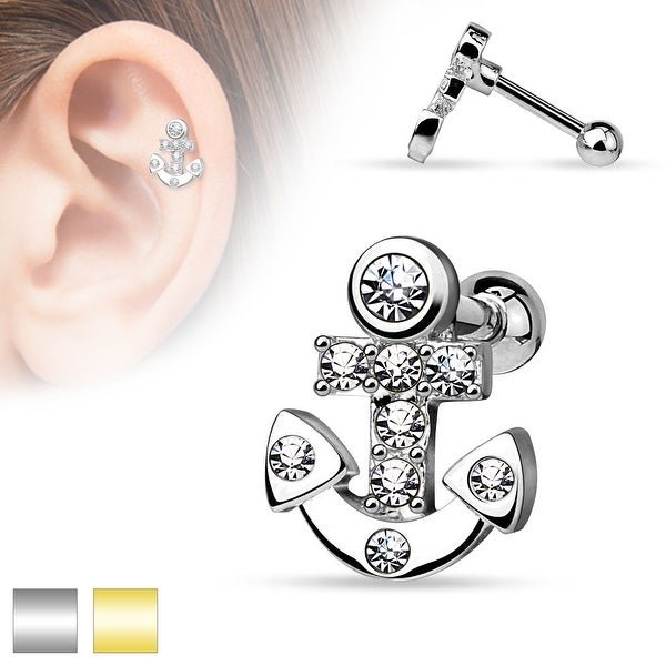 CZ Paved Anchor 316L Surgical Steel Cartilage/Tragus Barbell (Sold Ind.)