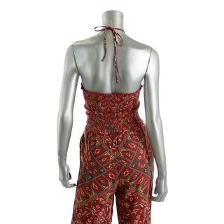 Free People Womens Paisley Shirred Bodice Jumpsuit