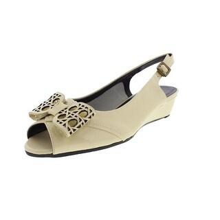 VANELi Womens Esin Patent Peep-Toe Wedge Heels
