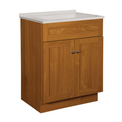 "Foremost DNVT2418 Dennison 25"" Free Standing Single Basin Vanity Set with Wood Cabinet, Stone Composite Vanity Top and"