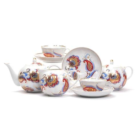 Dulevo Porcelain The Firebird Gold Rim 15 pc. Fine China Tea Set for 6