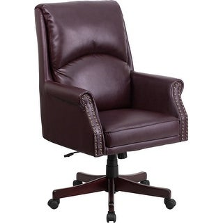 Silkeborg High-Back Pillow-Back Burgundy Leather Executive Swivel Chair w/Arms