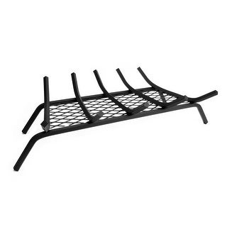 Pleasant Hearth BG5-275EM  Steel Fireplace Grate with 1/2-Inch Square Bars and Ember Retainer, 27-Inch Length - Black