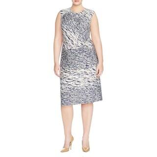 Nic + Zoe Womens Plus Wear to Work Dress Printed Twist Front