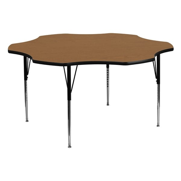 Offex 60'' Flower Shaped Activity Table with Oak Thermal Fused Laminate Top and Standard Height Adjustable Legs - N/A