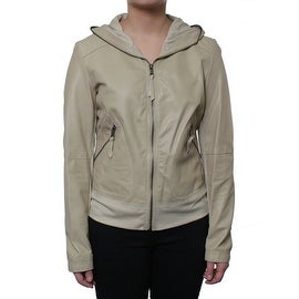 Laundry Women's Hooded Leather Jacket with Knit Combo
