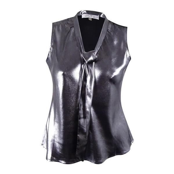 e13e35b66015 Shop Kasper Women s Metallic Neck-Tie Blouse - Silver Black - m - Free  Shipping On Orders Over  45 - Overstock - 17116622
