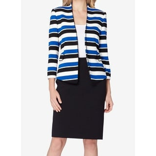 Tahari by ASL NEW Blue Black Womens Size 2 Striped Skirt Suit Set
