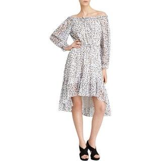 Diane Von Furstenberg Womens Camila Wear to Work Dress Hi-Low Hem Silk