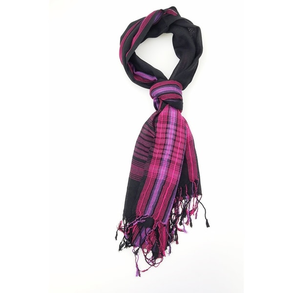 Women Multi Color Lightweight Checkered Plaid Oblong Scarf With Tassels Fall Winter School Warm College Fashion Scarves - M. Opens flyout.